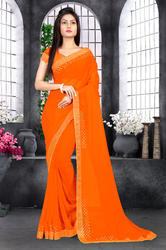 Riva Enterprise Women's Georgette Hot Flix Border Work Orange Color Saree