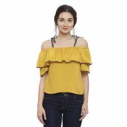Cotton Casual Ladies Off Shoulder Top, Size: M-XL