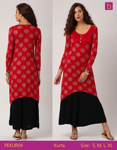 885f024e02e0aa Tunic Tops Tunics For Women Calf Length Printed Kurta With A Curved Hem  Embellished With Tassels