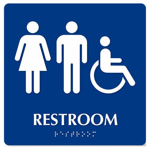 2D Board White And Blue Braille Signage