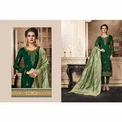 Dhanlaxmi Silk Mills Churidaar Green Ladies Designer  Cotton Suits