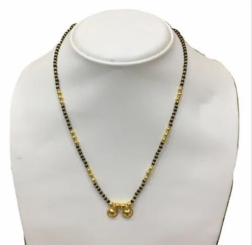 5cf7084b37ffd Gold Plated Vati Design Pendant Single Layer Traditional Short Mangalsutra