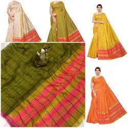 Fancy Cotton Saree With Checks Design