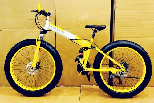 Prime Bmw Fat Foldable Bicycle Yellow Color Size 26 Fat Tyre