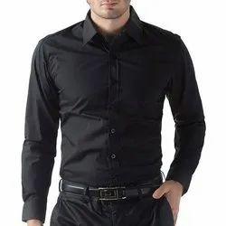 Party Wear Full Sleeves Mens Black Plain Rayon Shirt, Size: M-XXL