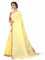 Sangini Yellow Pure Linen Cotton Saree