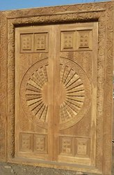 Exterior Sagwan Wooden Double Door