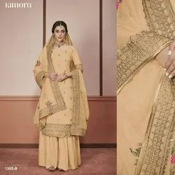 Embroidered Silk Green Churidar Salwar Kameez