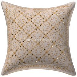 Gold Zari Sequins Embroidered Cotton Cushion Cover