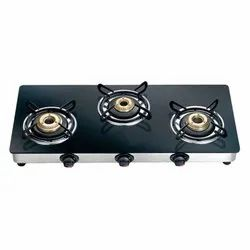 Hiwin Black Three Burner Gas Stove, Model Name/Number: Roma, Packaging Type: Box