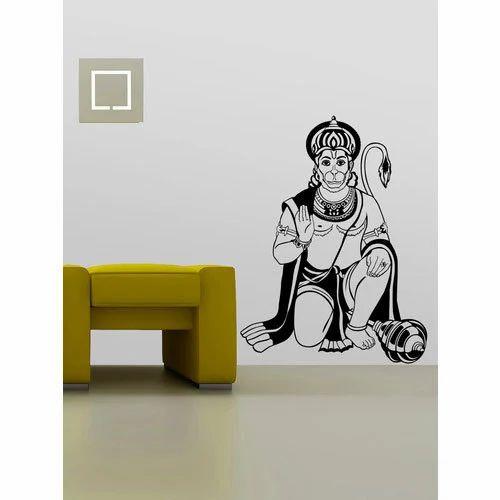 pvc lord hanuman wall sticker, thickness: 1 to 2 mm, rs 50 /square