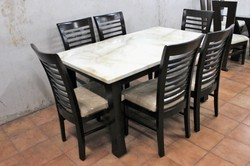 Woodline Creation Wooden Chair Dining Table With Marble Top For