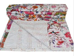 Natural Printed Kantha Bedspread