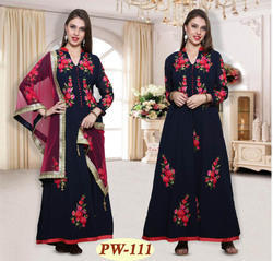 Anarkali Dress Suits with Floral Embroidery