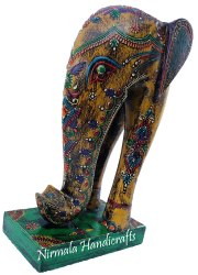 Embossed Wooden Elephant Trunk-Up Decorative Showpiece