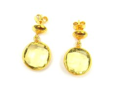 Lemon Quartz Gemstone Stud Earring Set