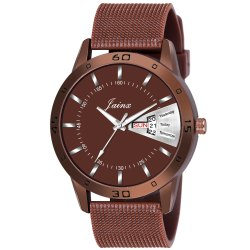 Jainx Brown Mesh Band Day and Date Function Analog Watch for Men's - JM377