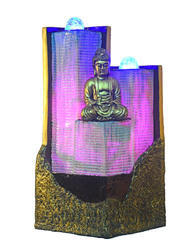 Gautam Buddha Fiber Building Fountain With Blue Pink Light House
