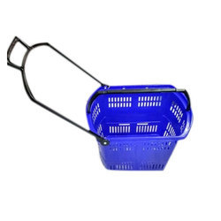 45 Liter Plastic Shopping Trolley Basket With 4 Wheels