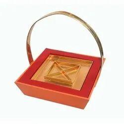 RS Leather Orange, Golden Leatherette Hamper Basket