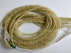 Precious Natural Medagascar Yellow Sapphire Gemstone 3-4 MM Faceted Roundel Stone Beads Loose Strand