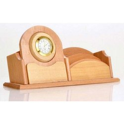 Desktop Wooden Pen Stand With Clock