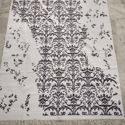 Universal Rugs White Printed Cotton Dhurrie rug