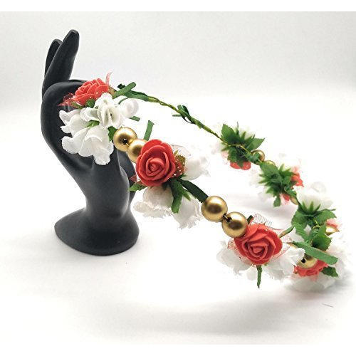 Satyam Kraft Red White Adjustable Wooden Stick Multicolor Floral