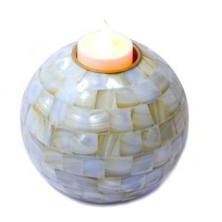 Mother Of Pearl White Candle Lord Abalone Stand