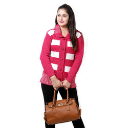 b76527673f7 Ladies Pink And White Full Sleeves Woolen Party Wear Cardigan