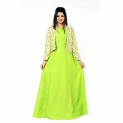 Cotton, Silk Party Wear Ladies Green Cotton Silk Kurti