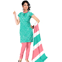 Green Bandhej Print Suit