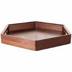 Hexagonal Matte Plain Wooden Tray