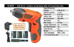 Black decker Cirdless Screw driver eith 15 bit, Model Number/Name: Kc 4815