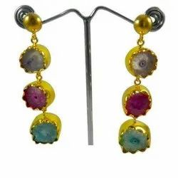 Flower Druzy Multi Coloured Sterling Silver Earrings