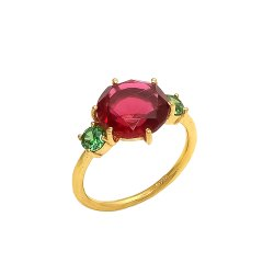 Ruby Hydro and Green Zircon Gemstone Ring