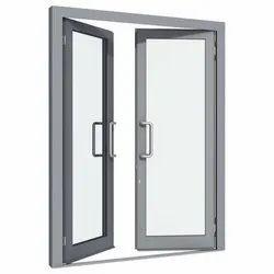 Hinged Plain Aluminium Grey Glass Doors, Thickness: 5-12mm