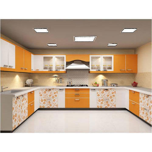 Designer Modular Kitchen At Rs 360 Square Feet: Modern Orange And White U Shaped Modular Kitchen, Rs 1200