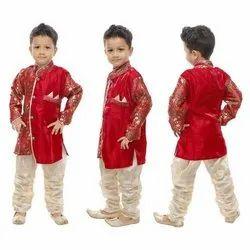 Crepe Cotton Wedding Wear Kids Embroidered Sherwani, 1-7 Years