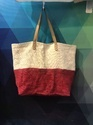 Two Colored Soft Jute With Leather Handle