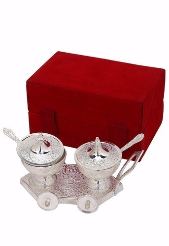 Silver Plated Dry Fruit Trolley & Spoon with Box