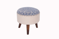 Rug Upholstered Wooden Round Stool