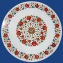 White Marble Inlay Dining Table Top Restaurant Decor