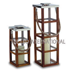 Wooden Candle Lantern Set of 2