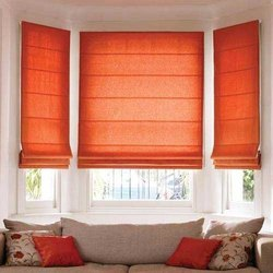 Orange Plain Fabric Roman Window Blind, For Home, Hotel Etc