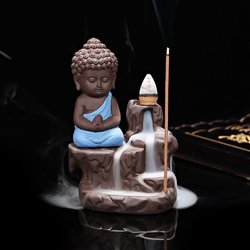 Polyresin Smoke Fountain Meditating Monk Buddha