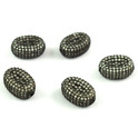 Pave CZ Stone Setting Oval Beads 14x10mm
