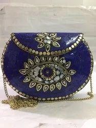 Kun Mosaie Indian Vintage Boho Handmade Brass And Mosaic Stone Metal Clutch, Size: 19.5 X 14.5 X 4 Cm