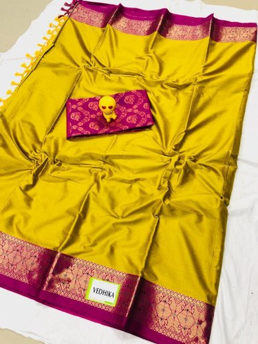 Festive Wear Embroidered Soft Cotton Silk Sarees, 6 m (with blouse piece)