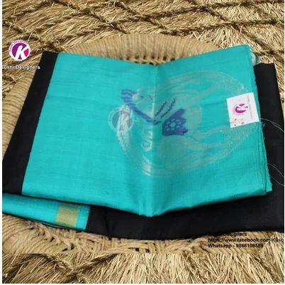 0006c8ed27 Kuppadam Silk Sarees - Black Saree With Blue Border Combo Saree ...